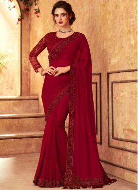 Red Embroidered Faux Georgette Designer Traditional Saree