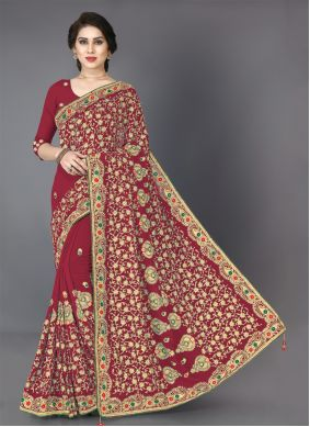 Red Embroidered Festival Classic Saree