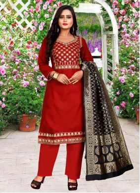 Red Embroidered Festival Pant Style Suit