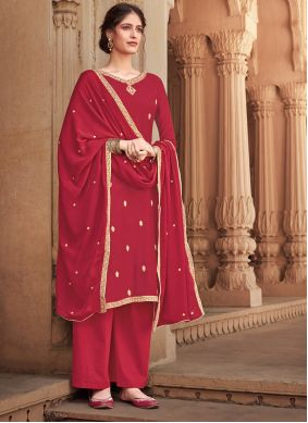 Red Embroidered Festival Salwar Suit