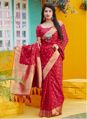 Red Embroidered Festival Trendy Saree