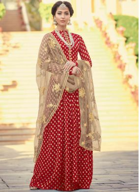 Red Embroidered Jacquard Floor Length Anarkali Suit