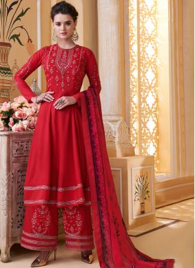 Red Embroidered Muslin Readymade Suit