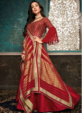 Red Embroidered Party Designer Salwar Suit