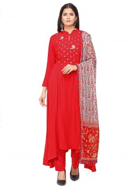 Red Embroidered Party Salwar Kameez