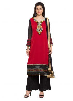 Red Embroidered Readymade Salwar Kameez