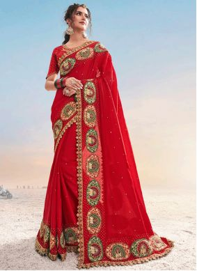 Red Embroidered Satin Designer Saree