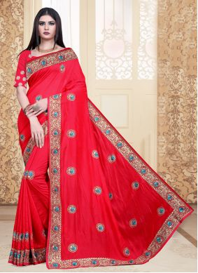 Red Embroidered Silk Bollywood Saree
