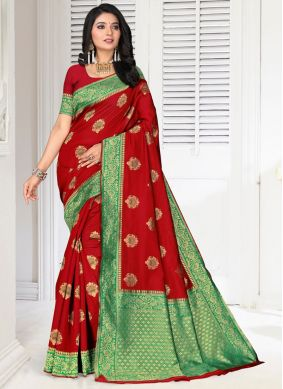 Red Embroidered Silk Classic Saree