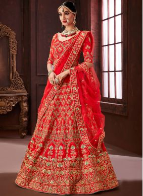 Red Embroidered Silk Designer Lehenga Choli
