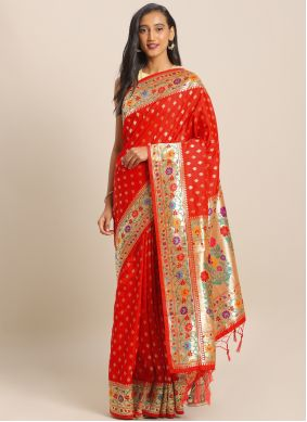 Red Engagement Saree
