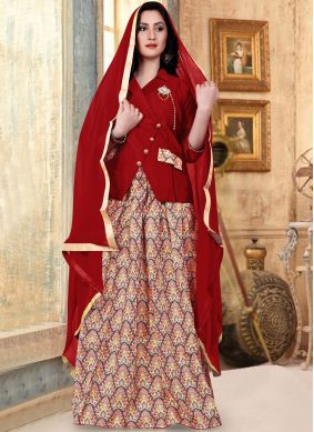 Red Fancy Banglori Silk Readymade Lehenga Choli