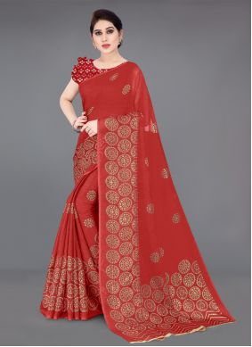 Red Fancy Fabric Casual Printed Saree