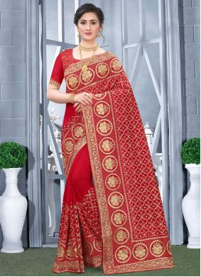 Red Fancy Fabric Engagement Traditional Designer Saree