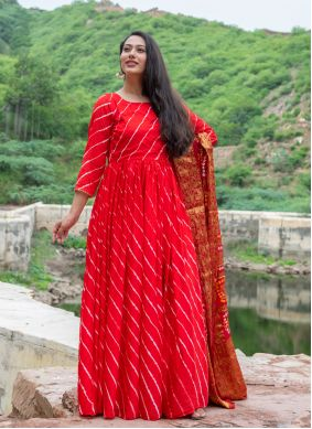 Red Fancy Silk Readymade Suit