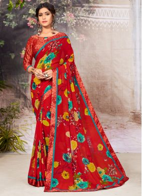 Red Faux Georgette Casual Casual Saree