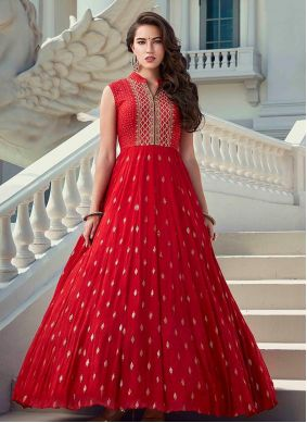 Red Faux Georgette Designer Gown