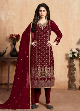 Red Faux Georgette Mehndi Pant Style Suit