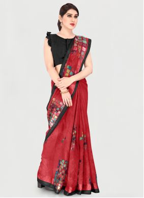 Red Festival Cotton Printed Saree