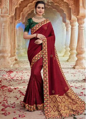 Red Festival Faux Georgette Classic Saree