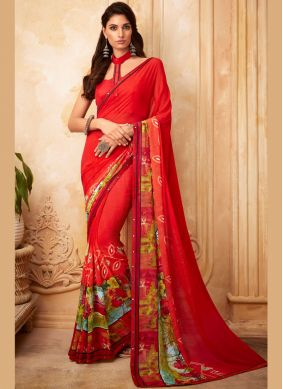 Red Festival Printed Saree
