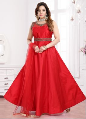 Red Festival Tafeta Silk Readymade Gown