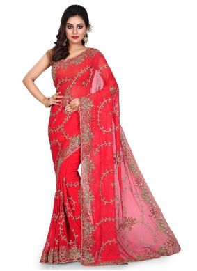 Red Georgette Embroidered Designer Traditional Saree