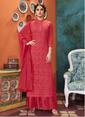 Red Georgette Party Palazzo Suit