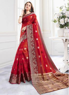 Red Handloom Cotton Print Shaded Saree