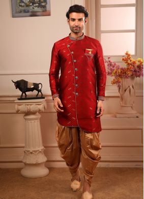 Red Jacquard Indo Western