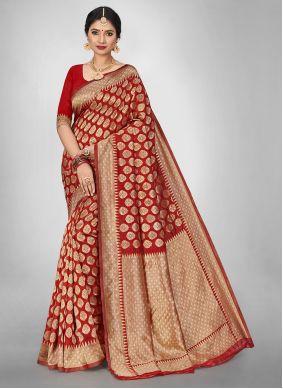 Red Jacquard Silk Saree