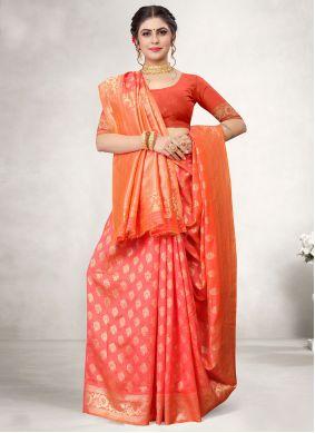 Red Jacquard Silk Woven Designer Traditional Saree