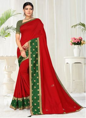 Red Lace Festival Casual Saree