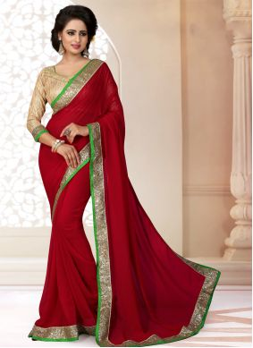 Red Lace Georgette Saree
