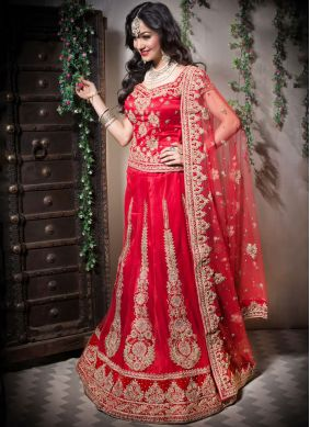 Red Net Designer Lehenga Choli