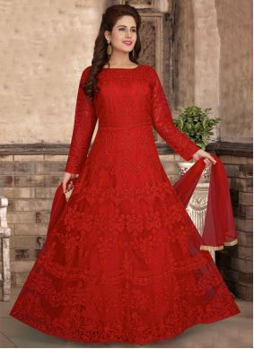 Red Net Festival Readymade Anarkali Suit
