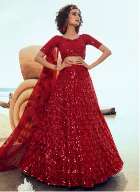 Red Net Sequins Designer Lehenga Choli