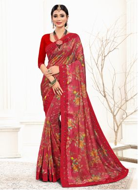 Red Organza Embroidered Classic Saree