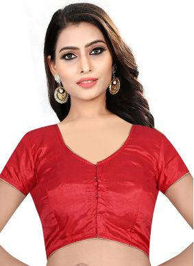 Red Party Art Raw Silk Designer Blouse