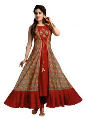 Red Party Chanderi Designer Kurti