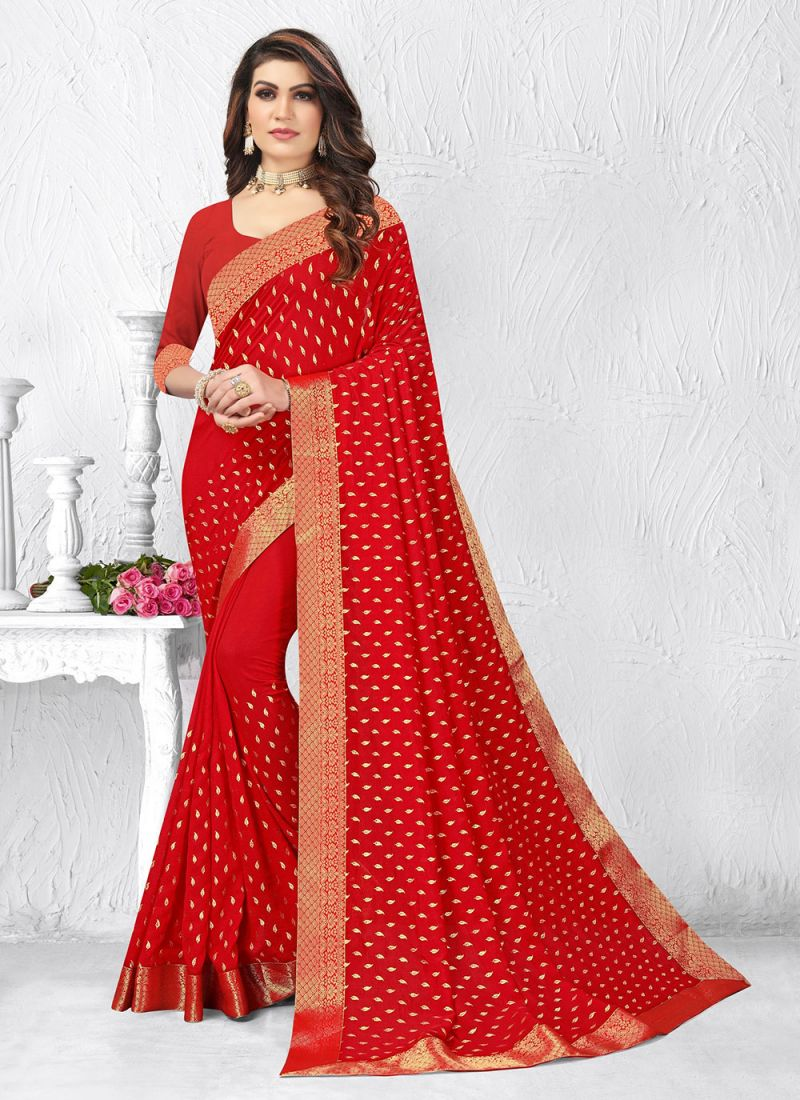 Red Lace Work Silk Party Classic Saree
