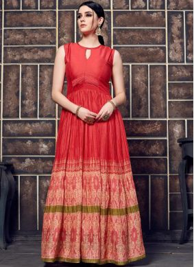 Red Party Crepe Silk Casual Kurti