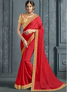Red Party Faux Chiffon Trendy Saree