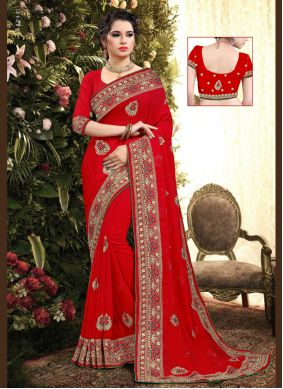 Red Party Georgette Classic Saree