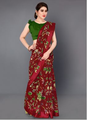 Red Party Printed Saree