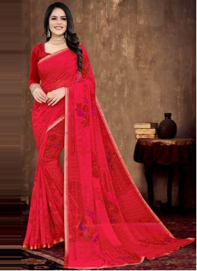 Red Faux Georgette Party Printed Saree