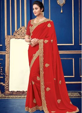 Red Patch Border Faux Georgette Traditional Saree