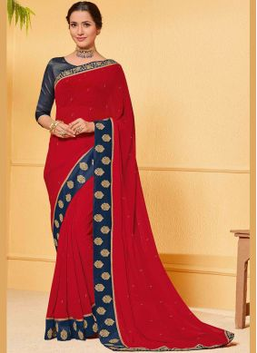 Red Patch Border Saree