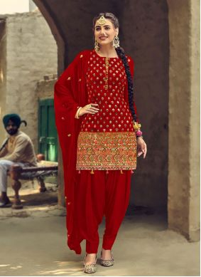 Red Patiala Suit