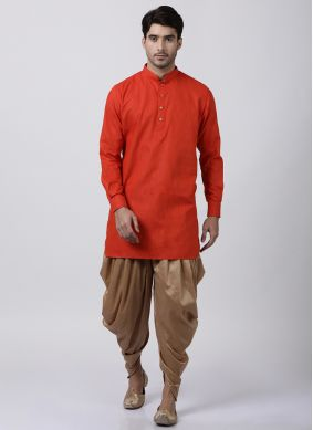 Red Plain Blended Cotton Dhoti Kurta